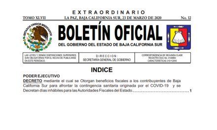 BOLETÍN OFICIAL  Gobierno del estado  (Decreto COVID-19)