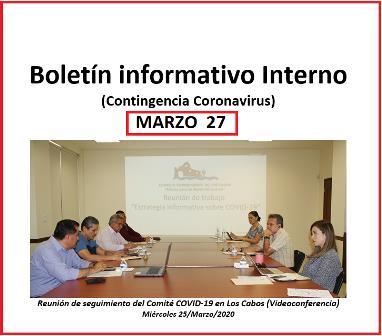 Boletín informativo Interno (Contingencia Coronavirus) MARZO 27