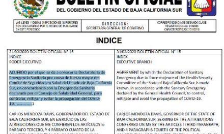 BOLETÍN OFICIAL Acuerdo declaratoria de emergencia sanitaria en BCS